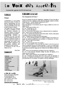 La Voix des Apprentis N° 2- Mars 2005