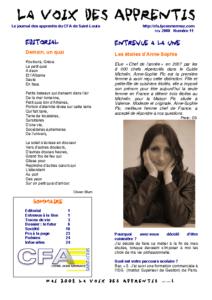 La Voix des Apprentis N° 11 – Mai 2008 – Le futur