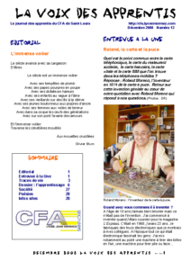 La Voix des Apprentis N° 12 – Décembre 2008 – L'apprentissage