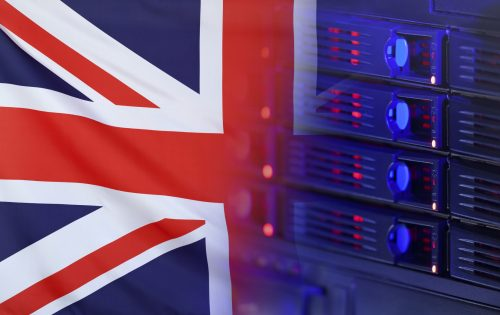 Technology concept consisting of server hardware merging with the Flag of Great Britain for use as local or country internet and hardware security image idea