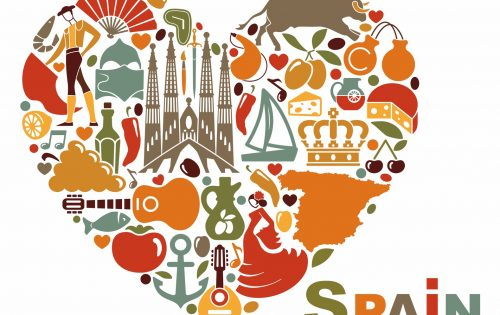 The symbols of Spain in heart shape. Vector illustration