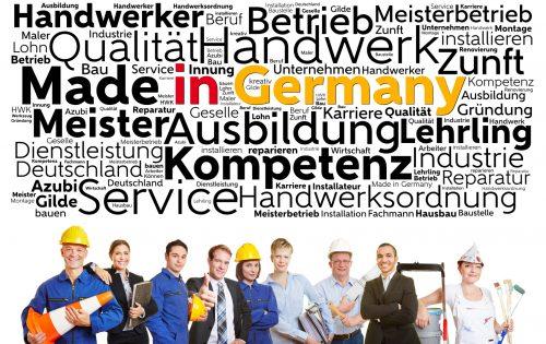 Handwerk made in Germany mit vielen Arbeitern und Handwerkern und Geschäftsleuten