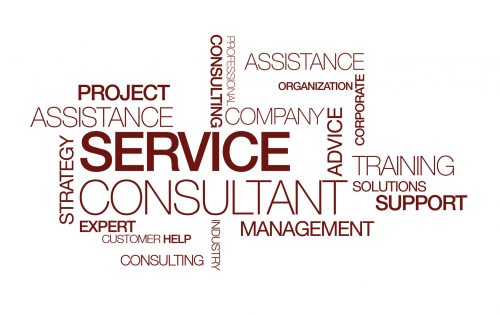 Service consultant management training tag cloud illustration