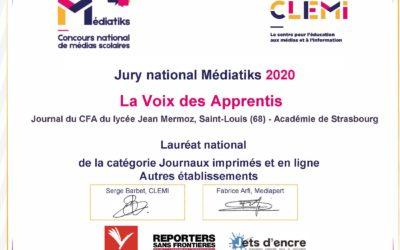 Diplôme Lauréat Médiatiks 2020 - La Voix des Apprentis